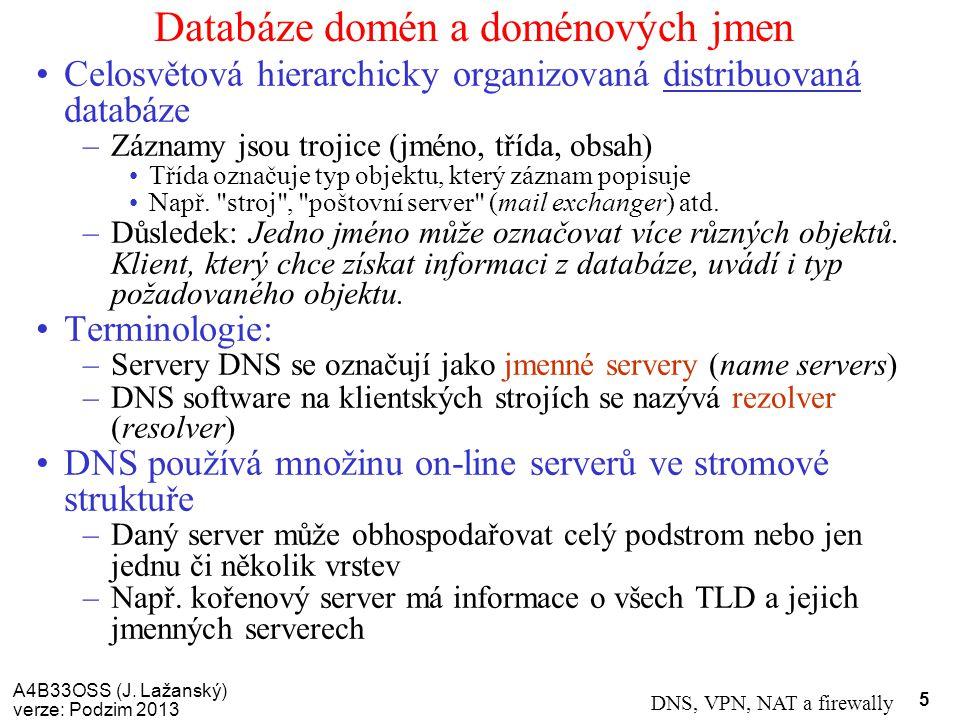 A4B33OSS (J. Lažanský) verze: Podzim 2013 DNS, VPN, NAT a firewally 5 Databáze domén a doménových jmen Celosvětová hierarchicky organizovaná distribuo