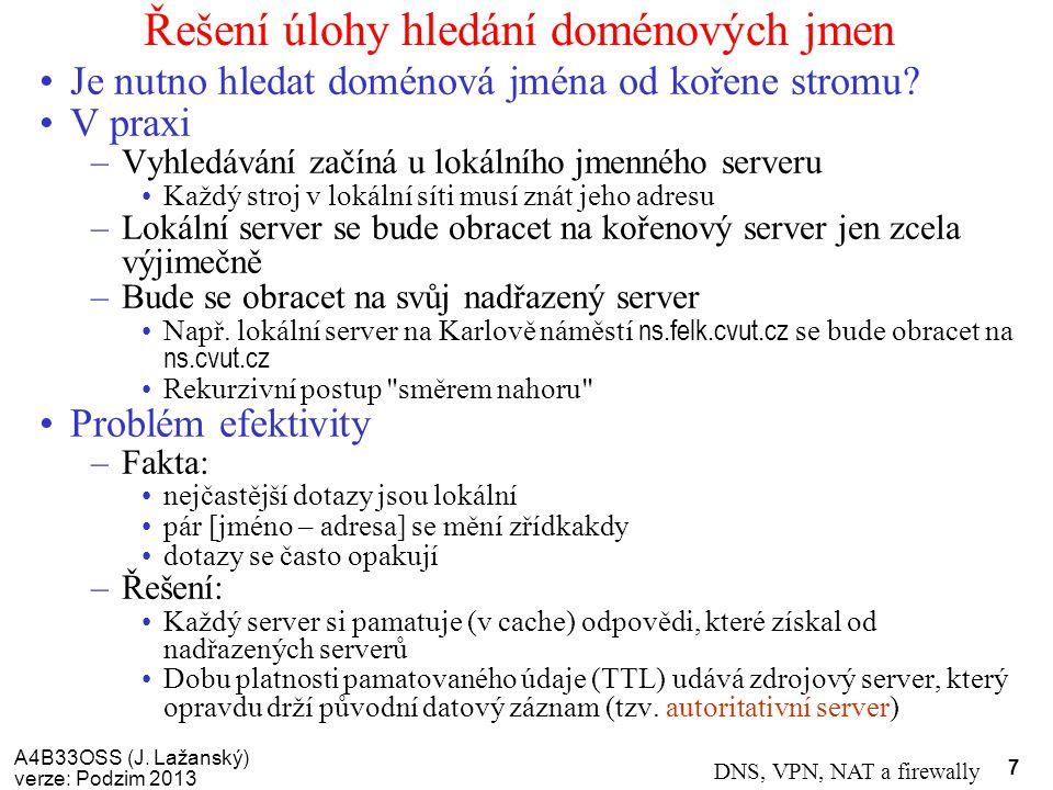 A4B33OSS (J. Lažanský) verze: Podzim 2013 DNS, VPN, NAT a firewally 7 Řešení úlohy hledání doménových jmen Je nutno hledat doménová jména od kořene st