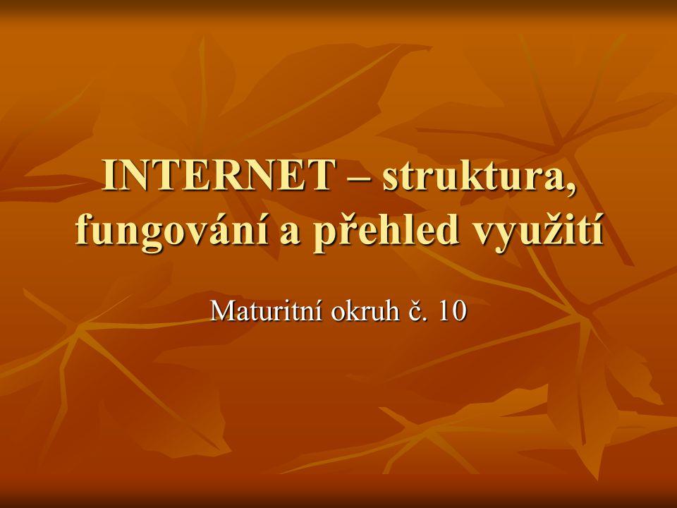 INTERNET – struktura, fungování a přehled využití Maturitní okruh č. 10