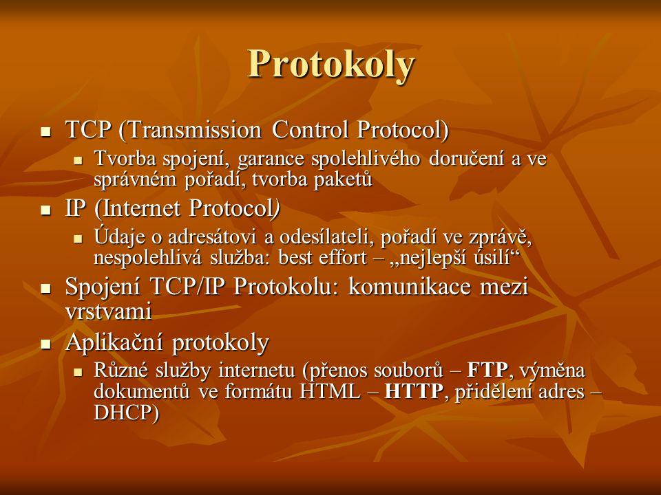 Protokoly TCP (Transmission Control Protocol) TCP (Transmission Control Protocol) Tvorba spojení, garance spolehlivého doručení a ve správném pořadí,