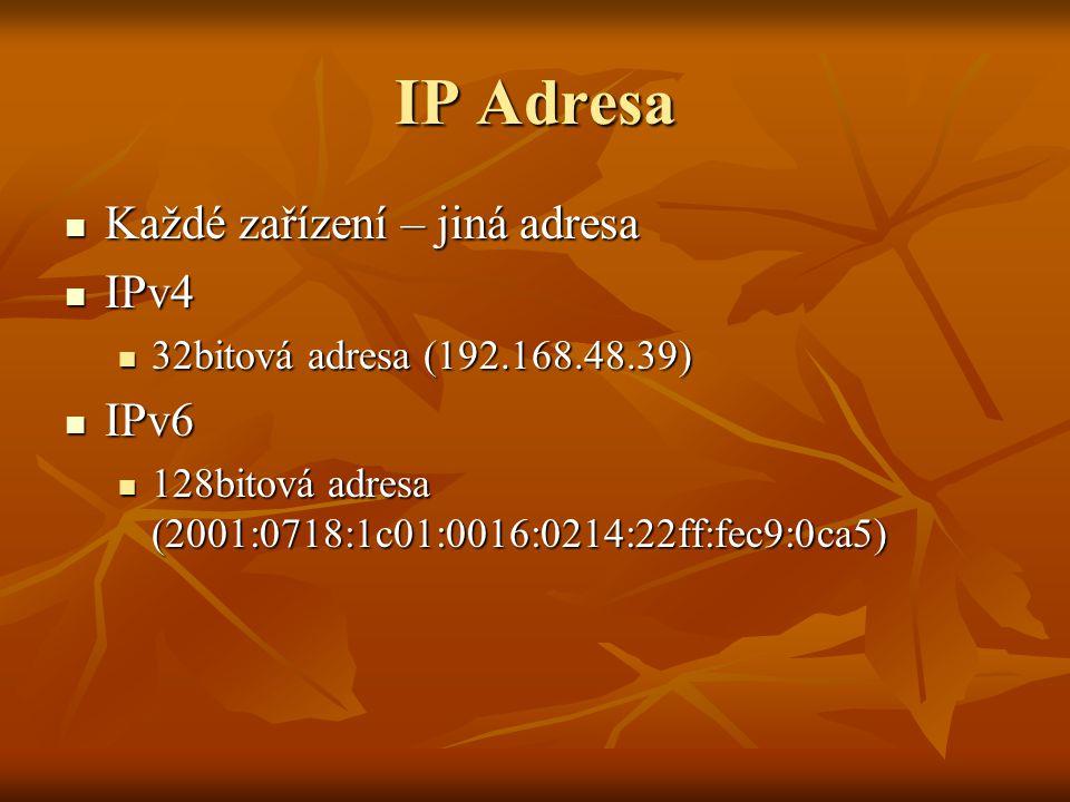 IP Adresa Každé zařízení – jiná adresa Každé zařízení – jiná adresa IPv4 IPv4 32bitová adresa (192.168.48.39) 32bitová adresa (192.168.48.39) IPv6 IPv