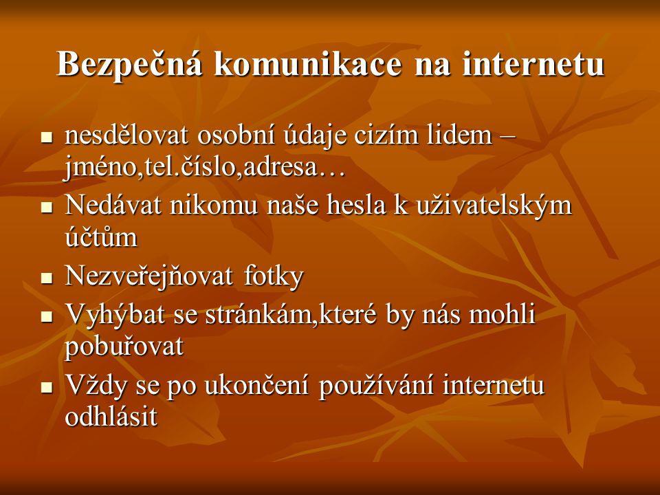 Bezpečná komunikace na internetu nesdělovat osobní údaje cizím lidem – jméno,tel.číslo,adresa… nesdělovat osobní údaje cizím lidem – jméno,tel.číslo,a