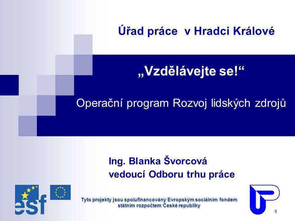 """Tyto projekty jsou spolufinancovány Evropským sociálním fondem státním rozpočtem České republiky 1 """"Vzdělávejte se! Ing."""