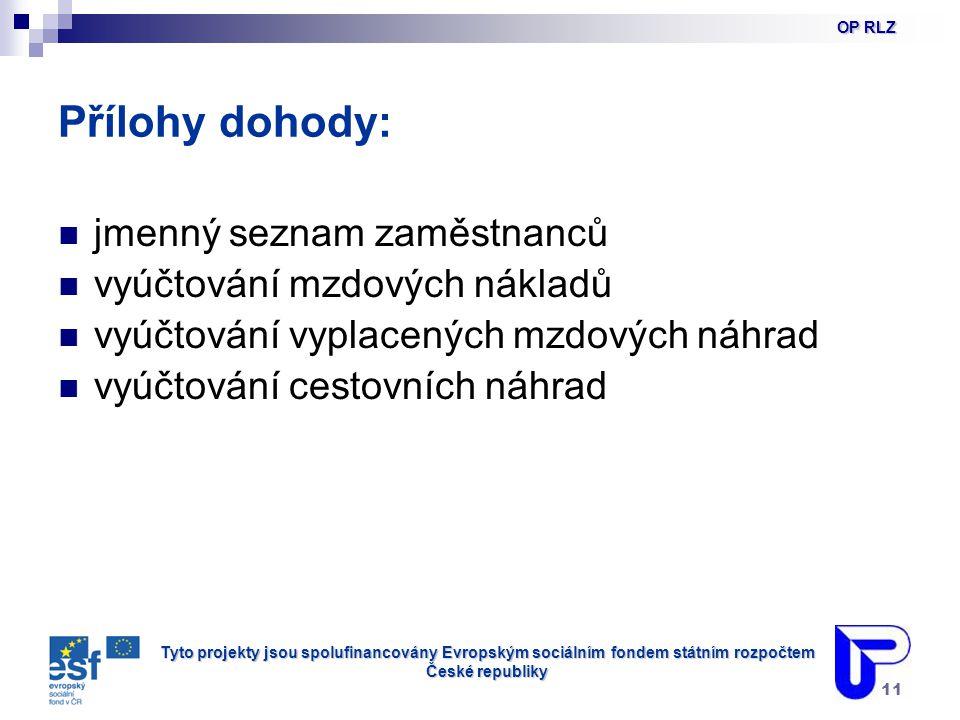 Tyto projekty jsou spolufinancovány Evropským sociálním fondem státním rozpočtem České republiky 11 Přílohy dohody: jmenný seznam zaměstnanců vyúčtování mzdových nákladů vyúčtování vyplacených mzdových náhrad vyúčtování cestovních náhrad OP RLZ