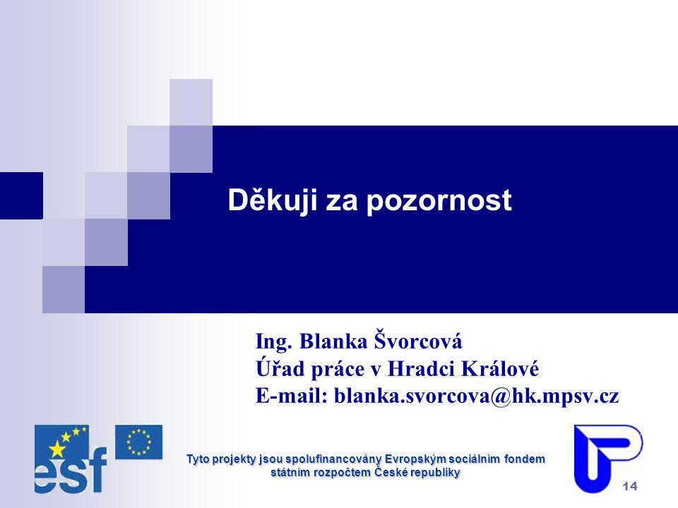 Tyto projekty jsou spolufinancovány Evropským sociálním fondem státním rozpočtem České republiky 14 Děkuji za pozornost Ing.