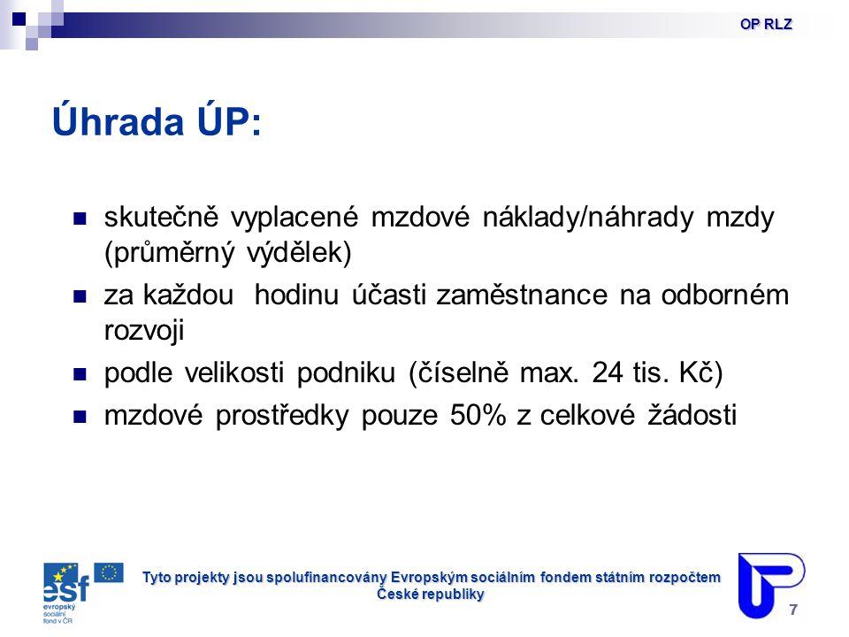 Tyto projekty jsou spolufinancovány Evropským sociálním fondem státním rozpočtem České republiky 7 Úhrada ÚP: skutečně vyplacené mzdové náklady/náhrady mzdy (průměrný výdělek) za každou hodinu účasti zaměstnance na odborném rozvoji podle velikosti podniku (číselně max.