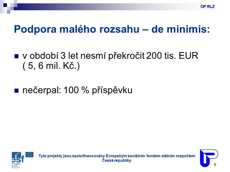 Tyto projekty jsou spolufinancovány Evropským sociálním fondem státním rozpočtem České republiky 9 Podpora malého rozsahu – de minimis: v období 3 let nesmí překročit 200 tis.