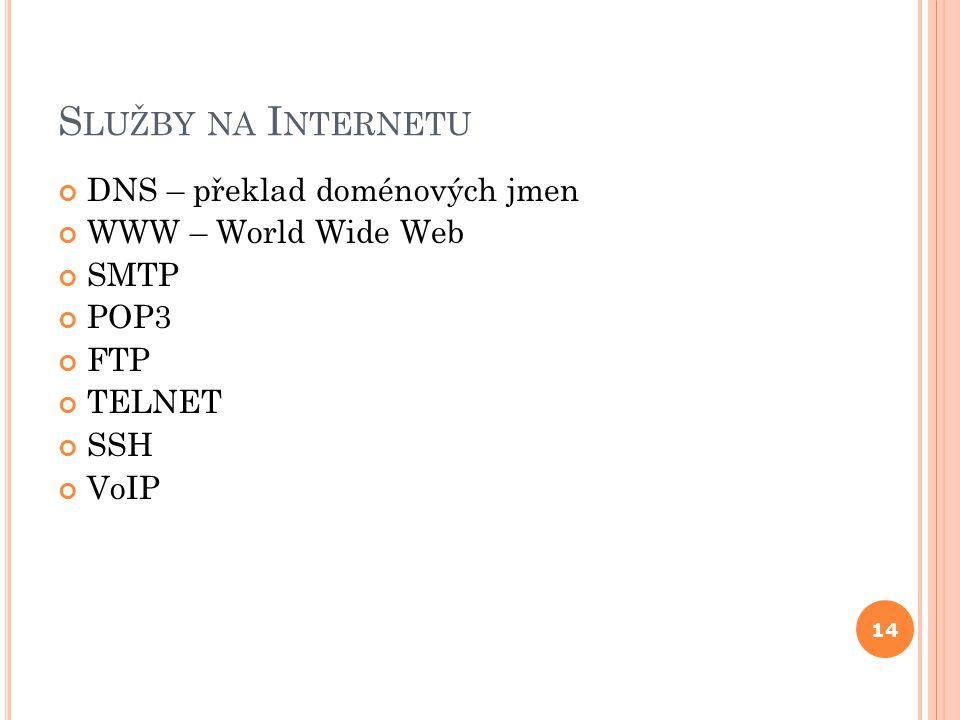 S LUŽBY NA I NTERNETU DNS – překlad doménových jmen WWW – World Wide Web SMTP POP3 FTP TELNET SSH VoIP 14