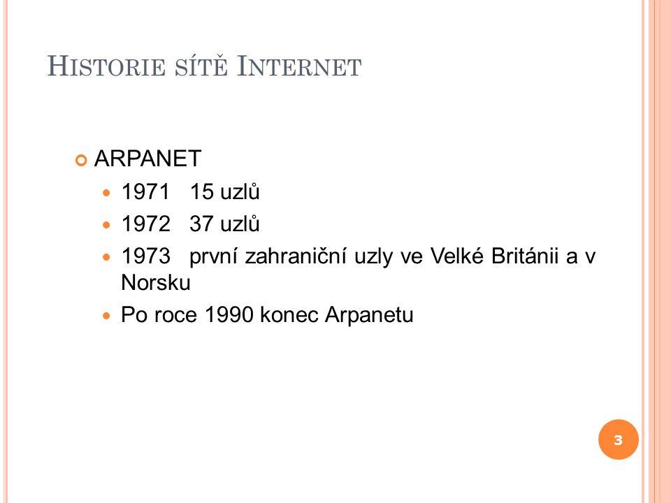 H ISTORIE SÍTĚ I NTERNET ARPANET 1971 15 uzlů 1972 37 uzlů 1973 první zahraniční uzly ve Velké Británii a v Norsku Po roce 1990 konec Arpanetu 3