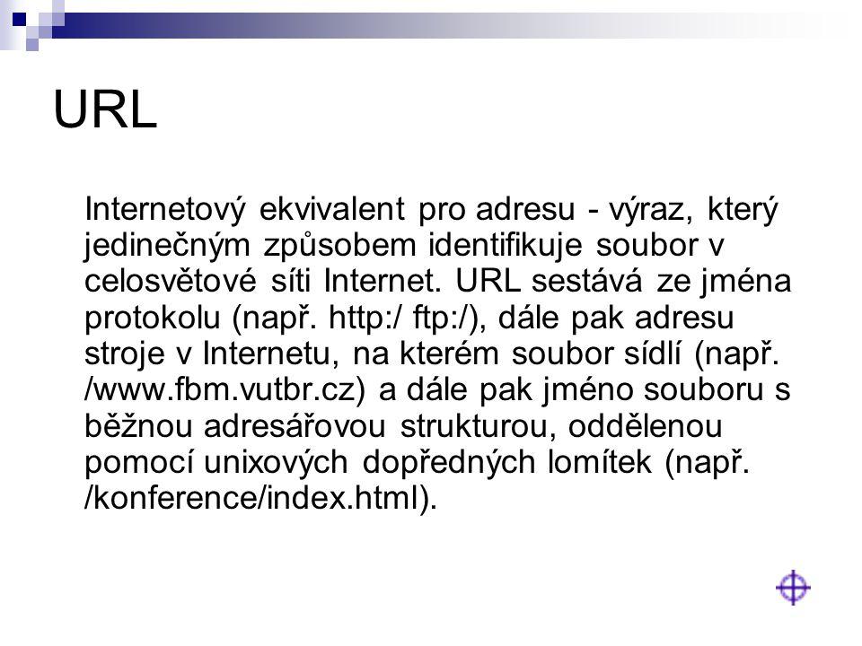 URL Internetový ekvivalent pro adresu - výraz, který jedinečným způsobem identifikuje soubor v celosvětové síti Internet. URL sestává ze jména protoko