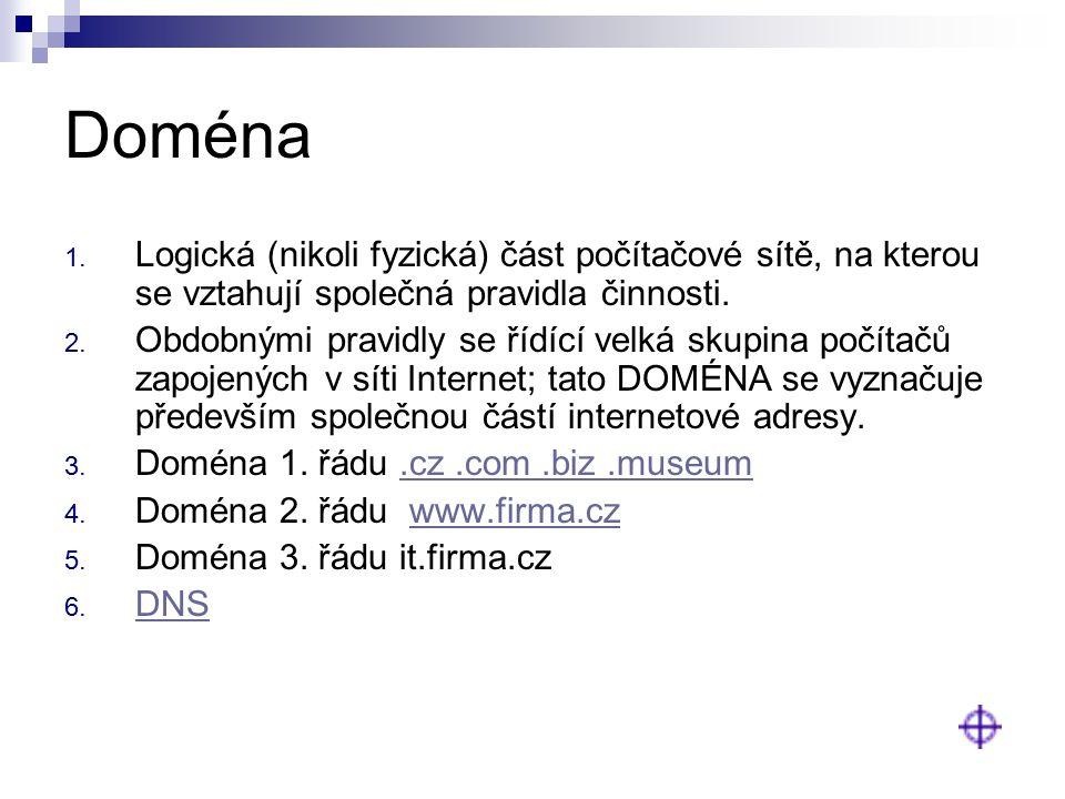 Doména 1. Logická (nikoli fyzická) část počítačové sítě, na kterou se vztahují společná pravidla činnosti. 2. Obdobnými pravidly se řídící velká skupi