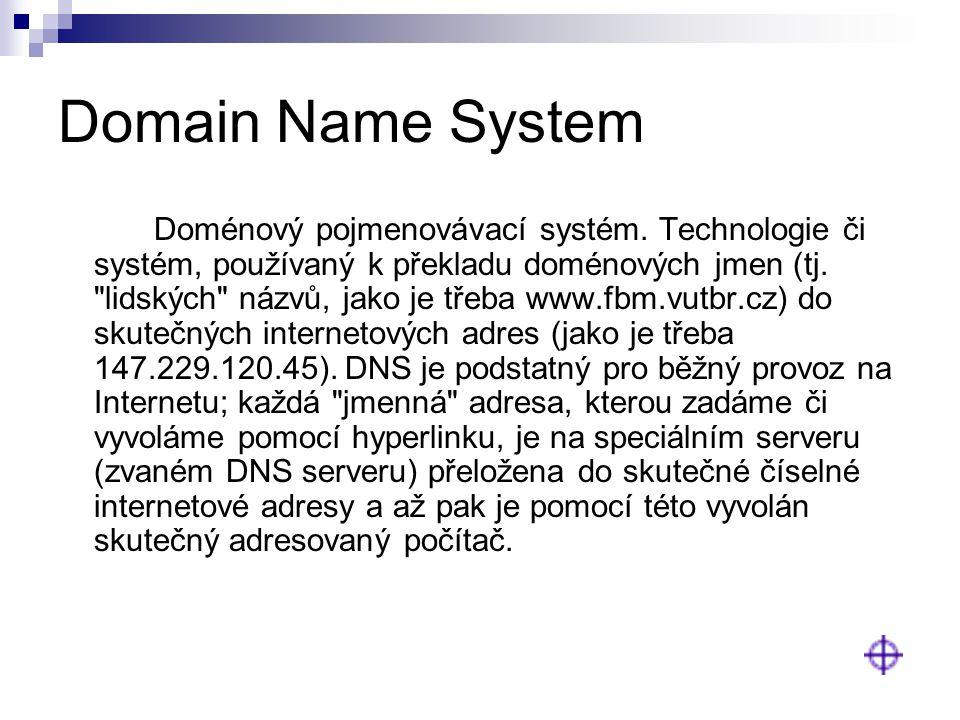 Domain Name System Doménový pojmenovávací systém. Technologie či systém, používaný k překladu doménových jmen (tj.