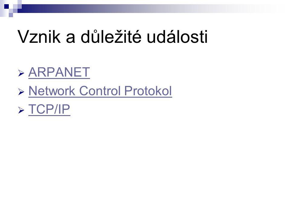 Vznik a důležité události  ARPANET ARPANET  Network Control Protokol Network Control Protokol  TCP/IP TCP/IP