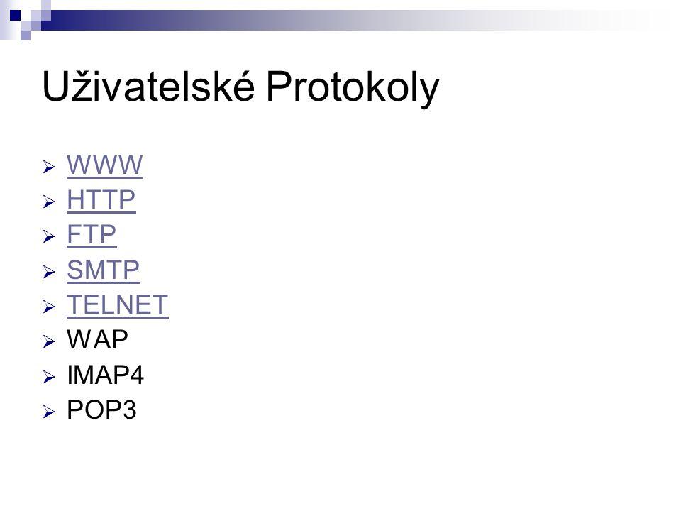 Uživatelské Protokoly  WWW WWW  HTTP HTTP  FTP FTP  SMTP SMTP  TELNET TELNET  WAP  IMAP4  POP3