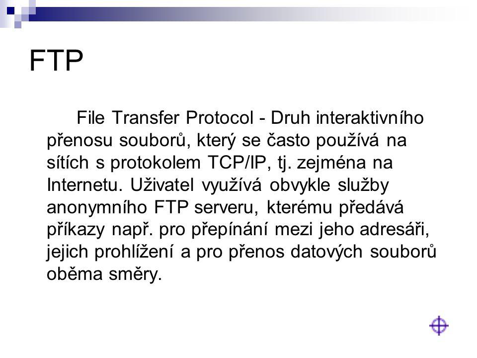 FTP File Transfer Protocol - Druh interaktivního přenosu souborů, který se často používá na sítích s protokolem TCP/IP, tj. zejména na Internetu. Uživ