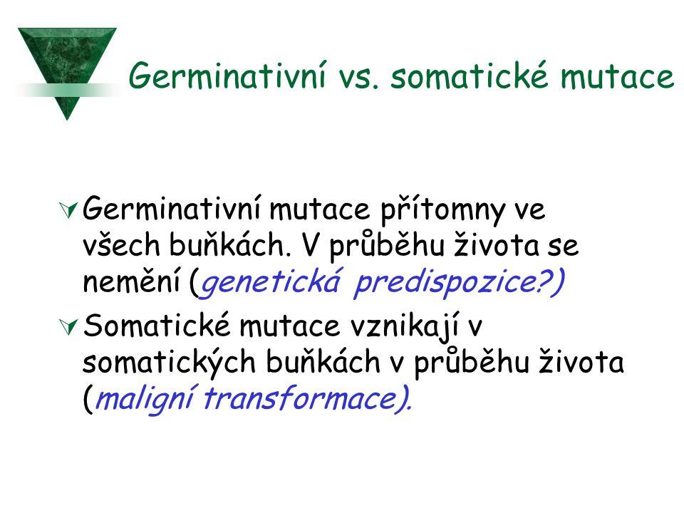 Germinativní vs. somatické mutace  Germinativní mutace přítomny ve všech buňkách. V průběhu života se nemění (genetická predispozice?)  Somatické mu