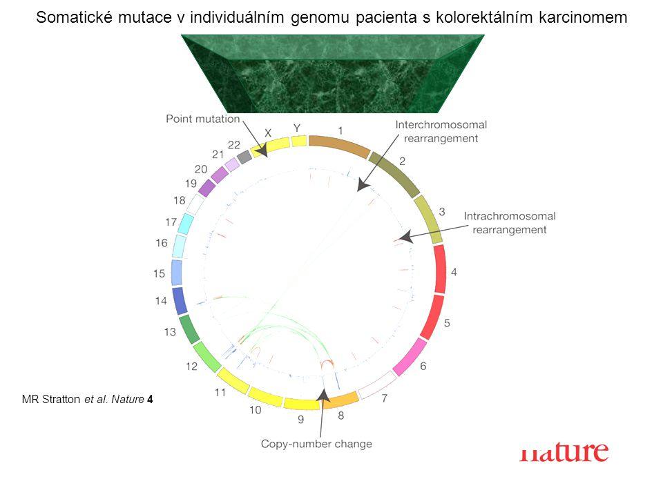 MR Stratton et al. Nature 458, 719-724 (2009) doi:10.1038/nature07943 Somatické mutace v individuálním genomu pacienta s kolorektálním karcinomem