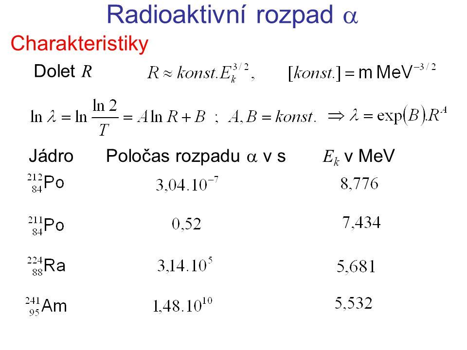 Radioaktivní rozpad  Charakteristiky Dolet R Jádro Poločas rozpadu  v s E k v MeV