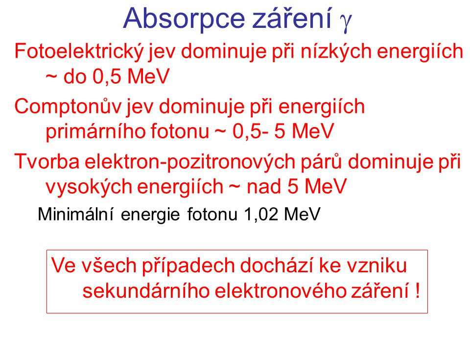 Fotoelektrický jev dominuje při nízkých energiích ~ do 0,5 MeV Comptonův jev dominuje při energiích primárního fotonu ~ 0,5- 5 MeV Tvorba elektron-pozitronových párů dominuje při vysokých energiích ~ nad 5 MeV Minimální energie fotonu 1,02 MeV Absorpce záření  Ve všech případech dochází ke vzniku sekundárního elektronového záření !