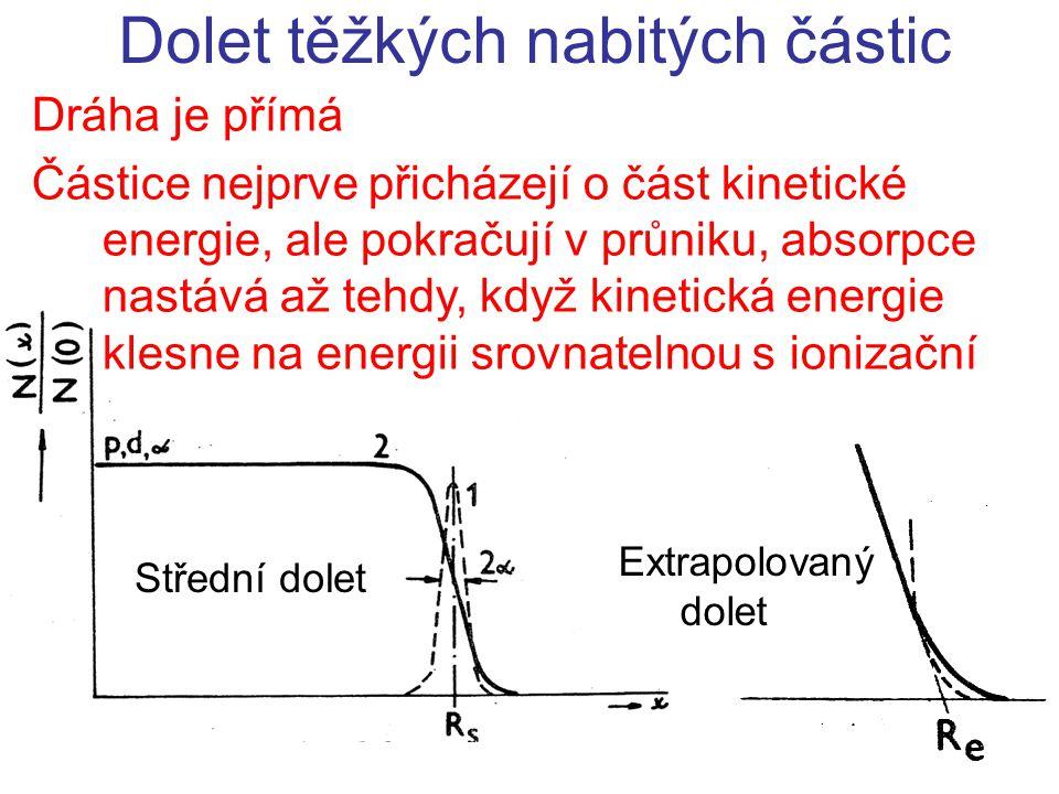 Dráha je přímá Částice nejprve přicházejí o část kinetické energie, ale pokračují v průniku, absorpce nastává až tehdy, když kinetická energie klesne na energii srovnatelnou s ionizační Dolet těžkých nabitých částic Střední dolet Extrapolovaný dolet