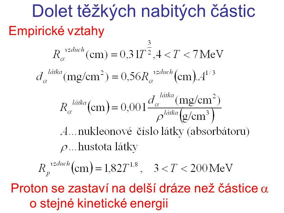 Empirické vztahy Dolet těžkých nabitých částic Proton se zastaví na delší dráze než částice  o stejné kinetické energii