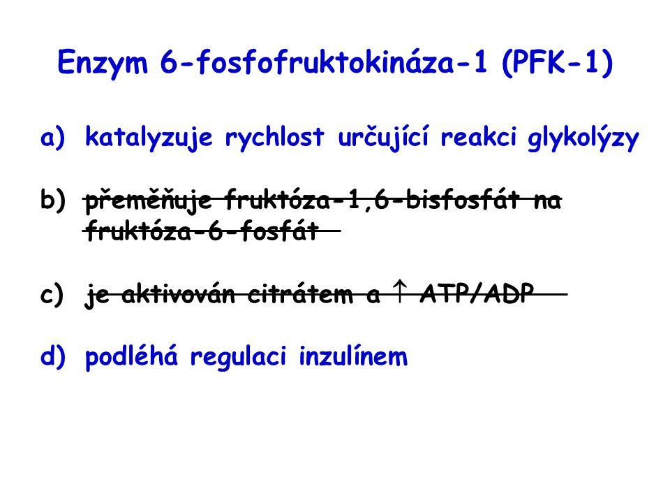 Enzym 6-fosfofruktokináza-1 (PFK-1) a)katalyzuje rychlost určující reakci glykolýzy b)přeměňuje fruktóza-1,6-bisfosfát na fruktóza-6-fosfát c)je aktiv
