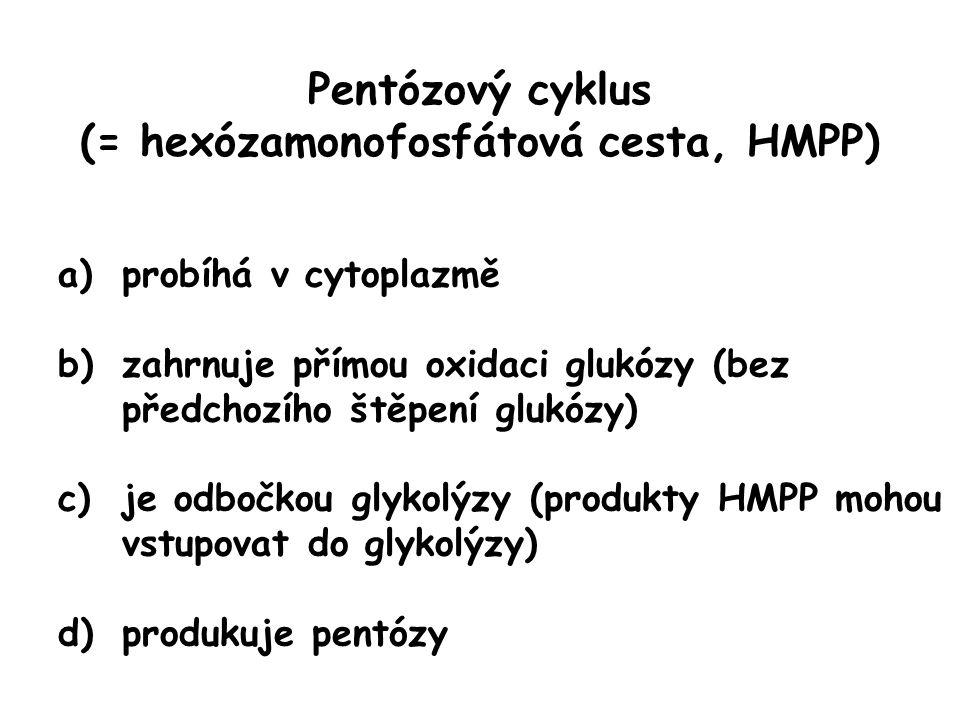 Pentózový cyklus (= hexózamonofosfátová cesta, HMPP) a)probíhá v cytoplazmě b)zahrnuje přímou oxidaci glukózy (bez předchozího štěpení glukózy) c)je o