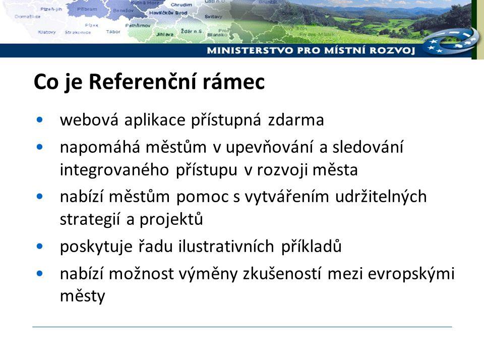 Co je Referenční rámec webová aplikace přístupná zdarma napomáhá městům v upevňování a sledování integrovaného přístupu v rozvoji města nabízí městům pomoc s vytvářením udržitelných strategií a projektů poskytuje řadu ilustrativních příkladů nabízí možnost výměny zkušeností mezi evropskými městy