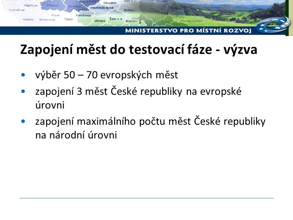 Zapojení měst do testovací fáze - výzva výběr 50 – 70 evropských měst zapojení 3 měst České republiky na evropské úrovni zapojení maximálního počtu měst České republiky na národní úrovni