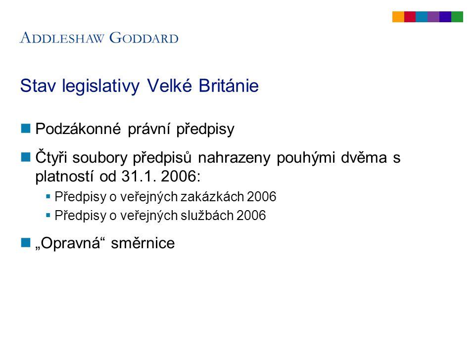Stav legislativy Velké Británie Podzákonné právní předpisy Čtyři soubory předpisů nahrazeny pouhými dvěma s platností od 31.1.