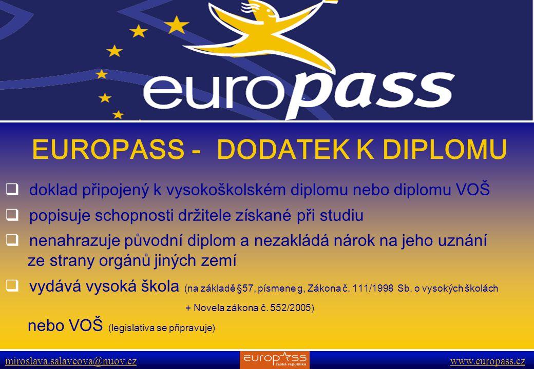 www.europass.cz miroslava.salavcova@nuov.cz www.europass.cz EUROPASS - DODATEK K DIPLOMU  doklad připojený k vysokoškolském diplomu nebo diplomu VOŠ  popisuje schopnosti držitele získané při studiu  nenahrazuje původní diplom a nezakládá nárok na jeho uznání ze strany orgánů jiných zemí  vydává vysoká škola (na základě §57, písmene g, Zákona č.