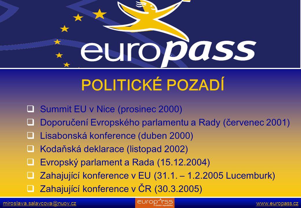 www.europass.cz miroslava.salavcova@nuov.cz www.europass.cz CO JE A NENÍ EUROPASS  první evropský jednotný doklad  strukturované portfolio dokumentů  nástroj transparentnosti kvalifikací  dokument dobrovolný a jeho vydání bezplatné  není cestovním dokladem  není novým certifikátem