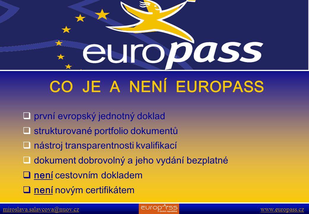 www.europass.cz miroslava.salavcova@nuov.cz www.europass.cz CÍLE A ÚKOLY EUROPASSU  zvyšuje transparentnost kvalifikací a kompetencí  usnadňuje pracovní a studijní mobilitu  napomáhá lepší komunikaci na trhu práce  zlepšuje proces uznávání kvalifikací