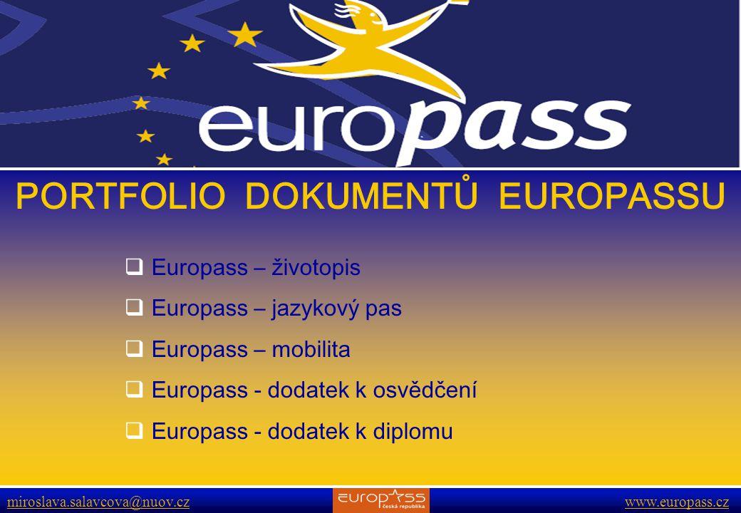 www.europass.cz miroslava.salavcova@nuov.cz www.europass.cz PORTFOLIO DOKUMENTŮ EUROPASSU  Europass – životopis  Europass – jazykový pas  Europass – mobilita  Europass - dodatek k osvědčení  Europass - dodatek k diplomu