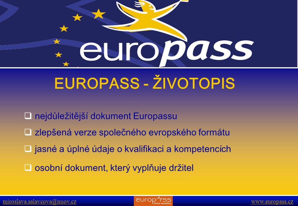 www.europass.cz miroslava.salavcova@nuov.cz www.europass.cz EUROPASS - ŽIVOTOPIS  nejdůležitější dokument Europassu  zlepšená verze společného evropského formátu  jasné a úplné údaje o kvalifikaci a kompetencích  osobní dokument, který vyplňuje držitel
