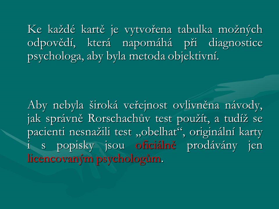 Ke každé kartě je vytvořena tabulka možných odpovědí, která napomáhá při diagnostice psychologa, aby byla metoda objektivní. Aby nebyla široká veřejno