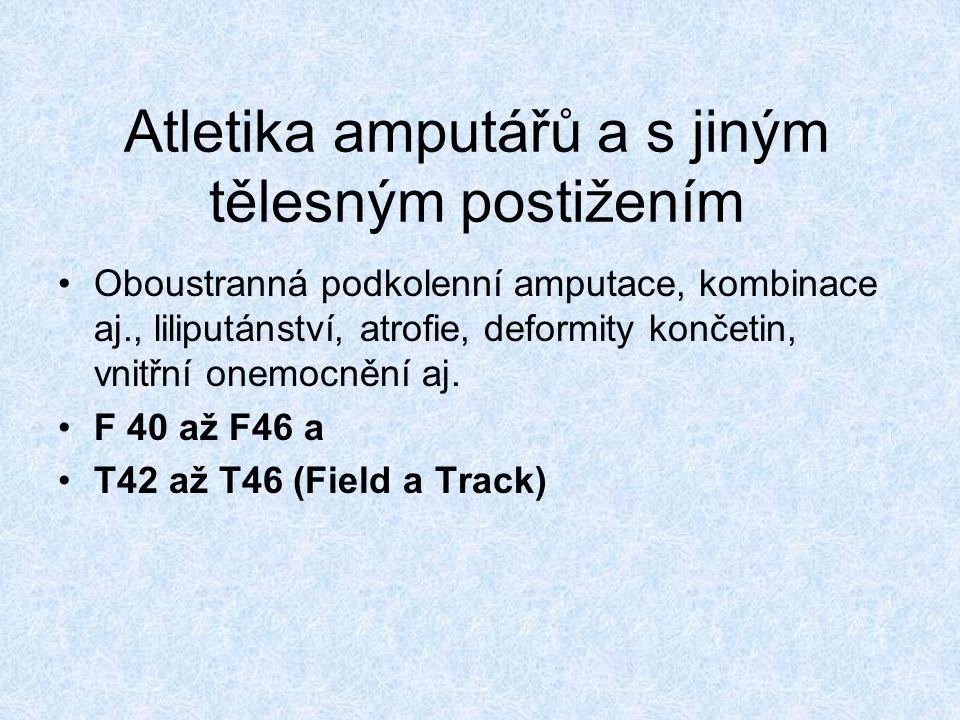 Atletika amputářů a s jiným tělesným postižením Oboustranná podkolenní amputace, kombinace aj., liliputánství, atrofie, deformity končetin, vnitřní onemocnění aj.