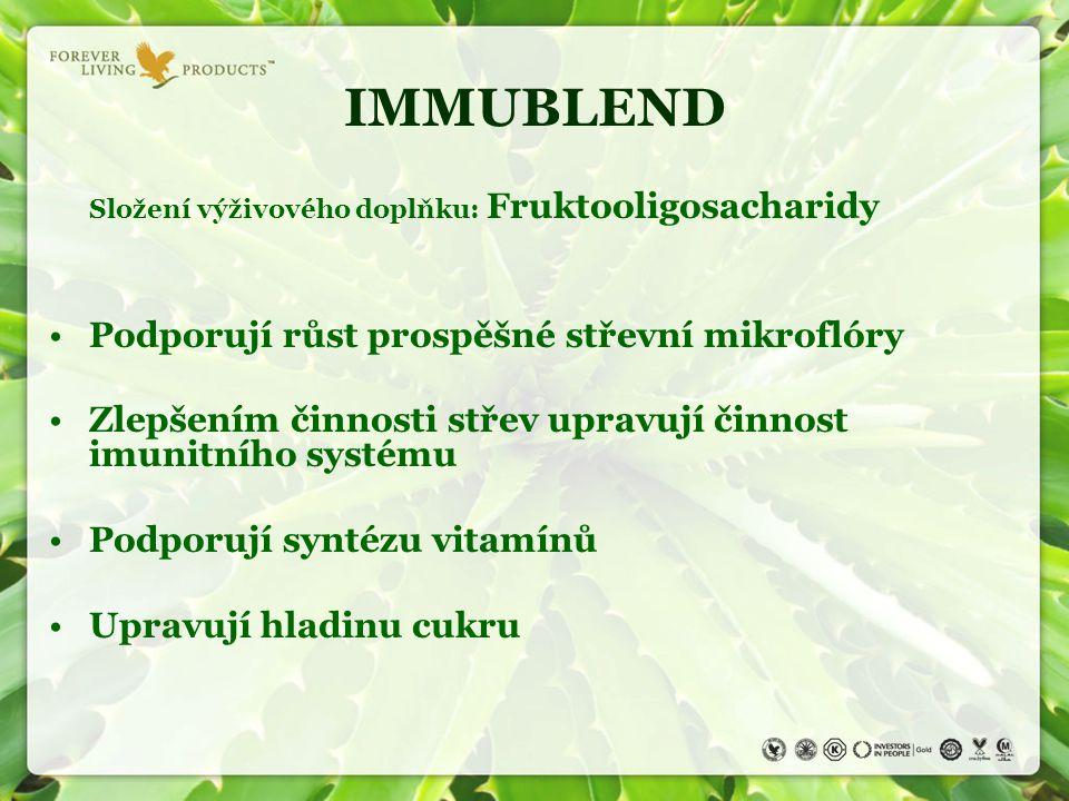 IMMUBLEND Složení výživového doplňku: Fruktooligosacharidy Podporují růst prospěšné střevní mikroflóry Zlepšením činnosti střev upravují činnost imuni