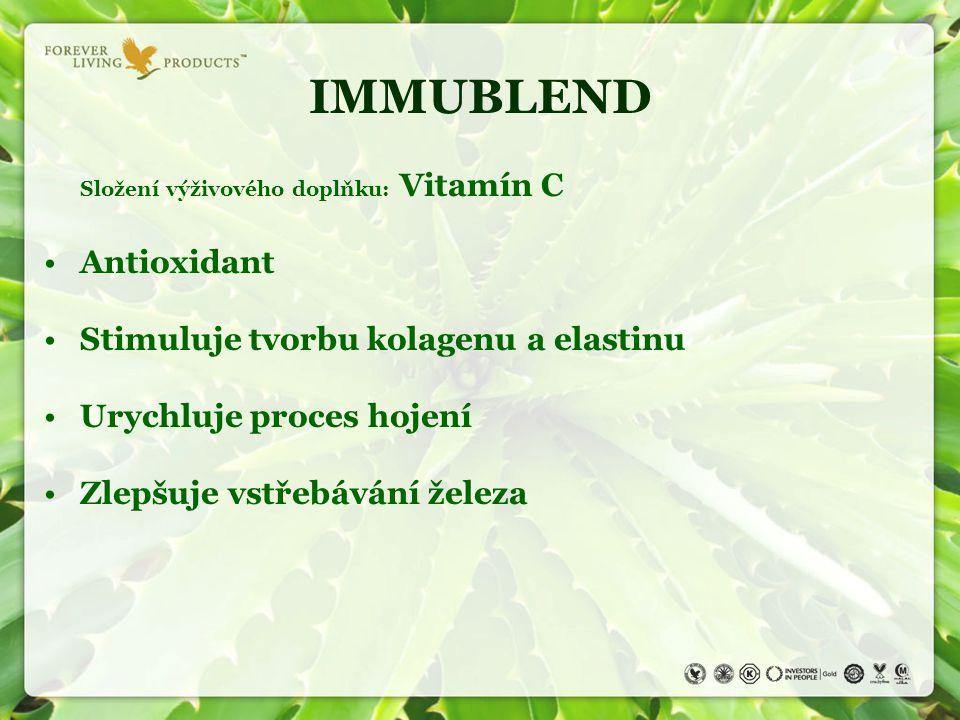 IMMUBLEND Složení výživového doplňku: Vitamín C Antioxidant Stimuluje tvorbu kolagenu a elastinu Urychluje proces hojení Zlepšuje vstřebávání železa