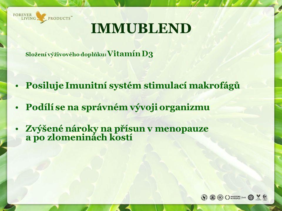 IMMUBLEND Složení výživového doplňku: Vitamín D3 Posiluje Imunitní systém stimulací makrofágů Podílí se na správném vývoji organizmu Zvýšené nároky na