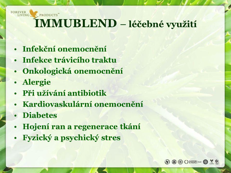 IMMUBLEND – léčebné využití Infekční onemocnění Infekce trávicího traktu Onkologická onemocnění Alergie Při užívání antibiotik Kardiovaskulární onemoc