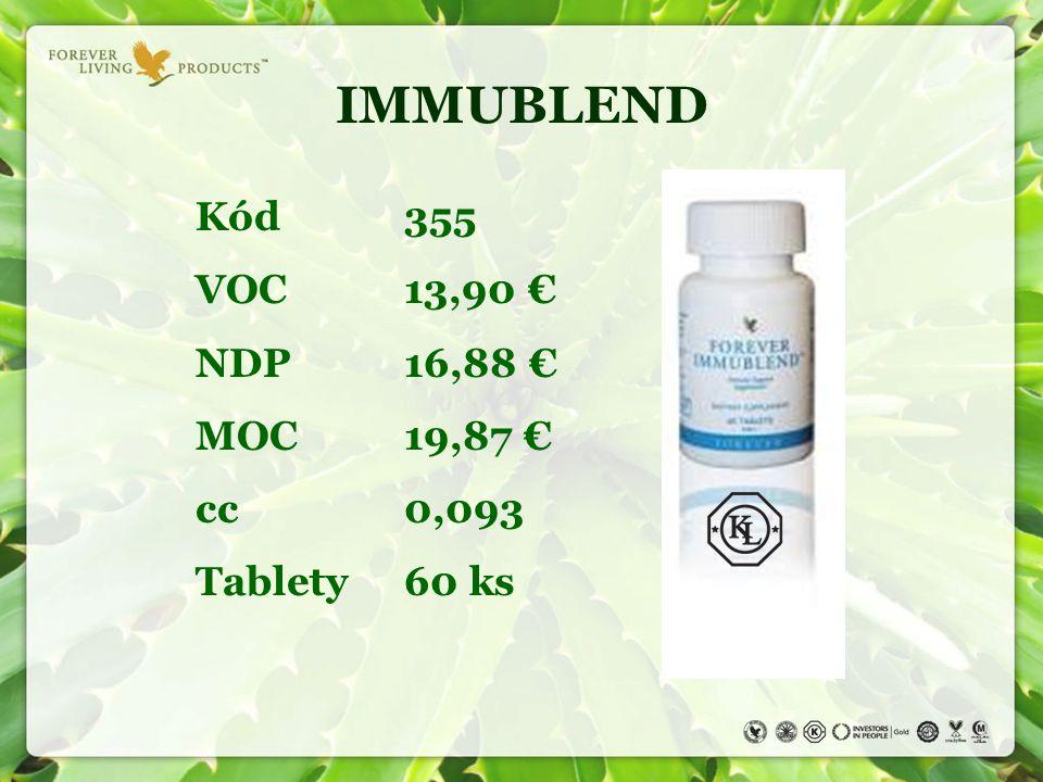 IMMUBLEND Kód 355 VOC13,90 € NDP16,88 € MOC19,87 € cc0,093 Tablety60 ks