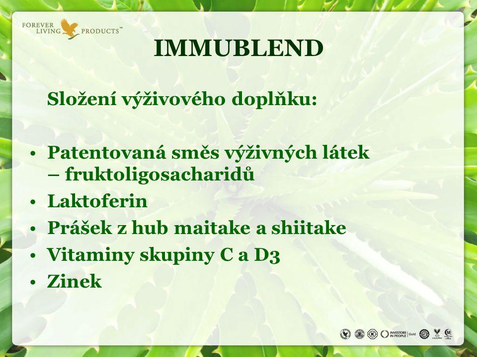 Složení výživového doplňku: Patentovaná směs výživných látek – fruktoligosacharidů Laktoferin Prášek z hub maitake a shiitake Vitaminy skupiny C a D3