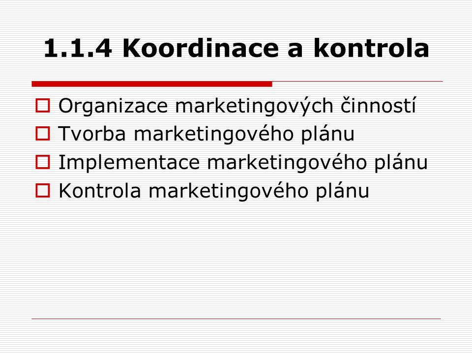 1.1.4 Koordinace a kontrola  Organizace marketingových činností  Tvorba marketingového plánu  Implementace marketingového plánu  Kontrola marketin