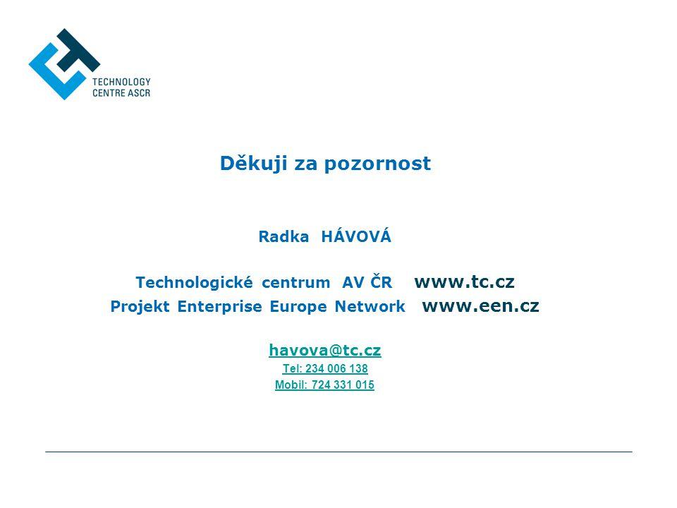 Děkuji za pozornost Radka HÁVOVÁ Technologické centrum AV ČR www.tc.cz Projekt Enterprise Europe Network www.een.cz havova@tc.cz Tel: 234 006 138 Mobil: 724 331 015