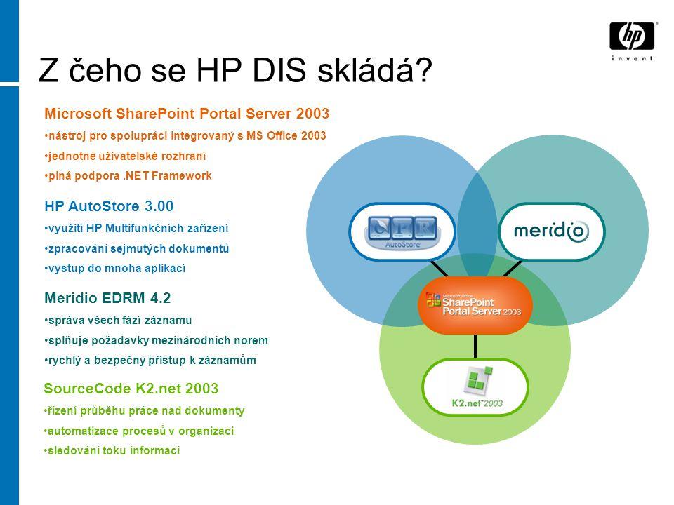 Z čeho se HP DIS skládá? HP AutoStore 3.00 využití HP Multifunkčních zařízení zpracování sejmutých dokumentů výstup do mnoha aplikací Microsoft ShareP