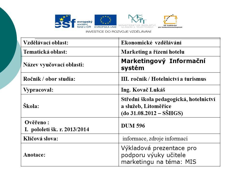 Vzdělávací oblast:Ekonomické vzdělávání Tematická oblast:Marketing a řízení hotelu Název vyučovací oblasti: Marketingový Informační systém Ročník / ob