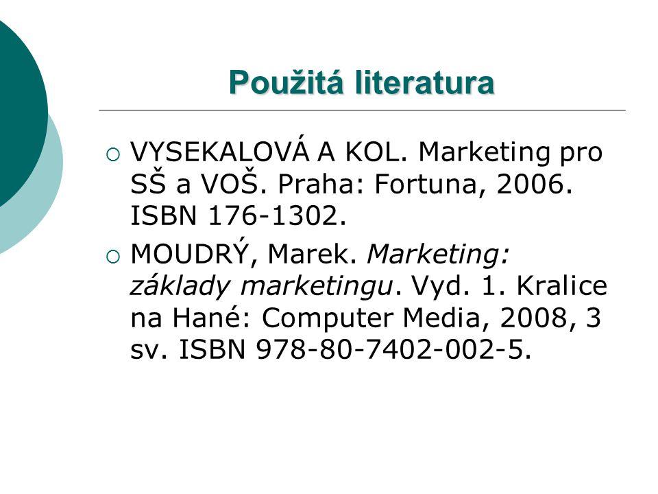 Použitá literatura  VYSEKALOVÁ A KOL. Marketing pro SŠ a VOŠ. Praha: Fortuna, 2006. ISBN 176-1302.  MOUDRÝ, Marek. Marketing: základy marketingu. Vy