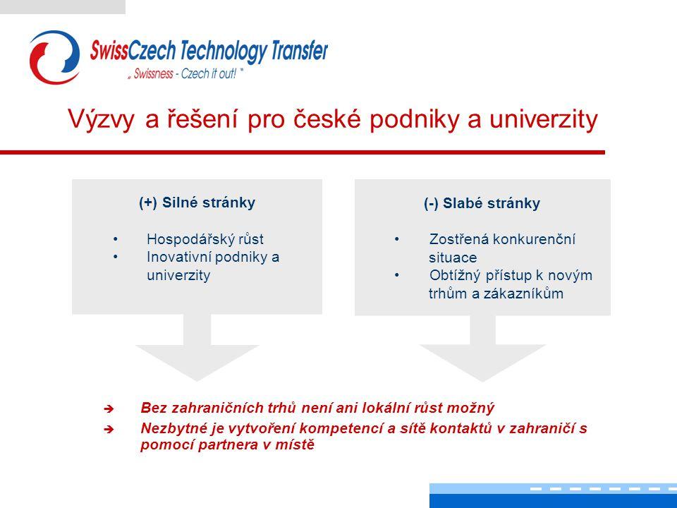 Výzvy a řešení pro české podniky a univerzity  Bez zahraničních trhů není ani lokální růst možný  Nezbytné je vytvoření kompetencí a sítě kontaktů v zahraničí s pomocí partnera v místě (+) Silné stránky Hospodářský růst Inovativní podniky a univerzity (-) Slabé stránky Zostřená konkurenční situace Obtížný přístup k novým trhům a zákazníkům