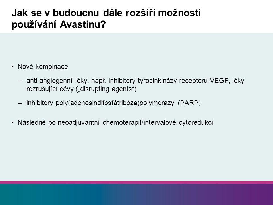 Jak se v budoucnu dále rozšíří možnosti používání Avastinu? Nové kombinace –anti-angiogenní léky, např. inhibitory tyrosinkinázy receptoru VEGF, léky